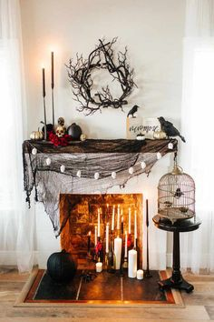 12 diy halloween decoration ideas 10 Need ideas to decorate your Halloween Mantel? Here are best Halloween Mantel Decorating Ideas that will give your Halloweeen decoration a new dimension Spooky Halloween Decorations, Halloween Celebration, Halloween Home Decor, Halloween 2019, Halloween Party Decor, Holidays Halloween, Halloween Crafts, Halloween Decorations Apartment, Halloween Sayings