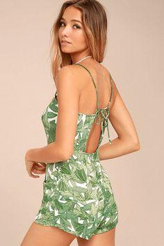 tropical print romper, banana leaf print, palm fronds print, sherwin williams organic green, spring green, apple green