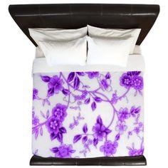 Purple Porcelain Flowers King Duvet on CafePress.com