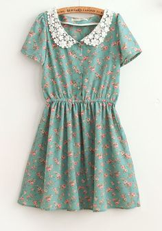 Blue Flowers Turndown Collar Above Knee Chiffon Dress