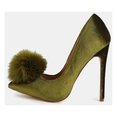 Pointy Toe Stiletto Pom Pom Heels OLIVE ($44) ❤ liked on Polyvore featuring shoes, pumps, green, pointed toe pumps, pointy-toe pumps, high heel shoes, green high heel pumps and green shoes