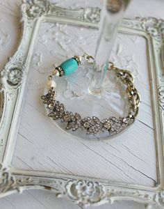 Vintage Rhinestone Turquoise and Pearl Assemblage by simplymeart, $60.00