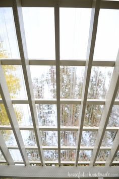 See the sky through your pergola roof with a beautiful DIY clear roof. The entire roof was easy to DIY. Housefulofhandmade.com #pergolaplansdiy