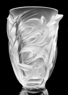 "LALIQUE CLEAR AND FROSTED CRYSTAL ""MARTINETS"" VASE : Lot 496"