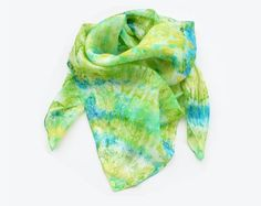 Vintage Colorful Silk Scarf Abstract Print Scarf by Blue Green, Yellow, Tye Dye, Abstract Print, Silk Chiffon, Colorful, Handmade, Stuff To Buy, Shopping