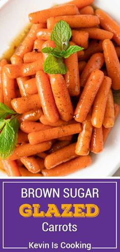 Glazed carrots are a delicious and easy-to-make holiday side dish. This recipe features baby carrots sautéed in sweet brown sugar glaze, with fresh mint on top! Side Dish Recipes, Healthy Dinner Recipes, Cooking Recipes, Delicious Meals, Holiday Side Dishes, Best Side Dishes, Healthy Vegetable Recipes, Vegetable Side Dishes, Veggie Meals