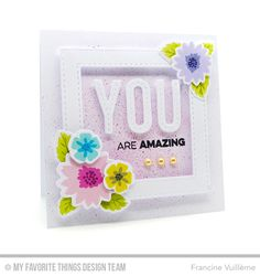 Handmade card from Francine Vuilleme featuring Mini Modern Blooms