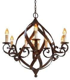 Spiral Strap Chandelier beautifully shaped with rustic details.