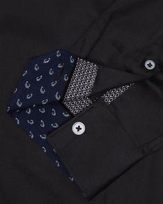 Satin stretch shirt - Black | Clothing | Ted Baker UK