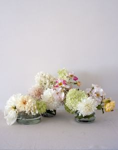 The Components: Dahlias, oakleaf and viburnum hydrangea, white and yellow roses, and white magnolias. flower display by Louesa Roebuck