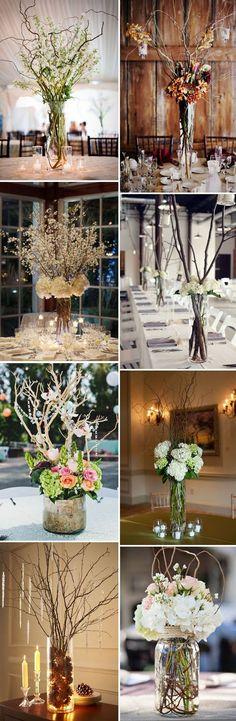 Easy DIY Branch,Twig and Floral Vase Wedding Centerpieces Ideas #weddingcenterpieces