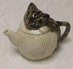 "Vintage Dark Tabby Cat on a Ball of Beige Yarn Teapot Signed ""Mann""."