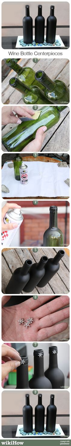 How to Make Inexpensive Wine Bottle Centerpieces, from wikiHow.com