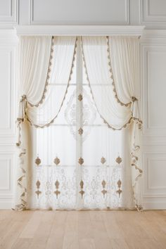 Hermitage con centrale tenda - 4 - Lilly is Love Living Room Decor Curtains, Dining Room Walls, Kitchen Curtains, Home Decor Bedroom, Baroque Decor, Luxury Curtains, Gym Decor, Beautiful Curtains, Custom Kitchen Cabinets