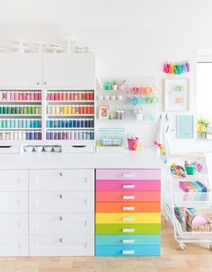 Come tour my colorful baking studio! In part two of my reveal we're taking a closer look at my sprinkle storage, decoration station, and styling station! I The Sprinkle Factory Rainbow Kitchen, Rainbow Room, Bakery Kitchen, Home Bakery, Craft Room Storage, Room Organization, Storage Ideas, Craft Rooms, Organiser Son Dressing