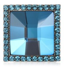 Frangos Blue Square Disco Ring ($49) ❤ liked on Polyvore