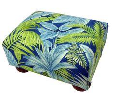 Seaside Tropical Sea Breezes Upholstered Footstool Ottoman