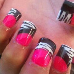 Pink & Blk Zebra Nails
