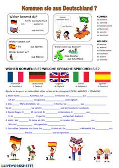 Sich vorstellen interactive and downloadable worksheet. You can do the exercises online or download the worksheet as pdf. Worksheets, German Grammar, German Language Learning, Learn German, School Subjects, You Can Do, Teacher, Classroom, Pdf
