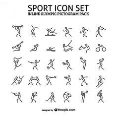 Esporte em linha pacote de ícone pictograma Vetor grátis: