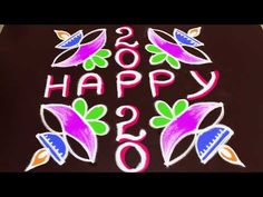 new year rangoli design for 2020 | 7dots easy kolam design | muggulu by sunitha - YouTube