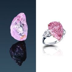 """Before... After - A 27.92 carat pink rough diamond was recovered from a mine in Botswana. It was cut by Safdico in New York ///// """"THE PRINCESS ROSE DIAMOND """" - 12.82 carats - 2006 - Flawless Fancy Intense Pink Pearshape diamond ring signed by Graff. This diamond was so called due of his pink hue, which reflects the delicacy and fragility of a rose. #Safdico #GraffDiamonds #Flawless #FancyIntensePink #Diamond #PrincessRose"""