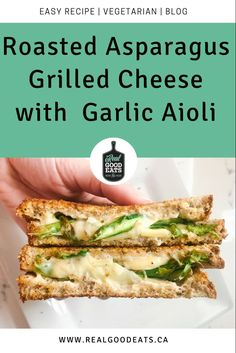 This Roasted Asparagus Grilled Cheese with Garlic Aioli has everything you love about grilled cheese but is boosted with veggies and delicious garlic aioli. #grilledcheese #cheese #sandwich #recipe #healthyrecipe #asparagus Vegetarian Recipes Dinner, Dinner Recipes, Healthy Recipes, Healthy Weeknight Dinners, Easy Meals, Garlic Aioli, Wrap Recipes, Nutrition Tips, Meal Ideas