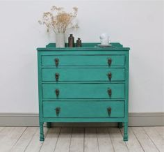 Distressed Vintage Four Drawer Painted Chest. - For Sale | Distressed But Not Forsaken