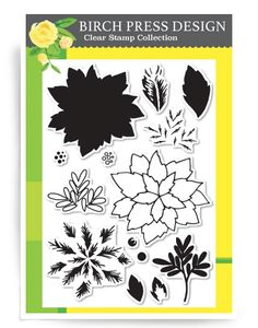 Holiday Poinsettia clear stamp set