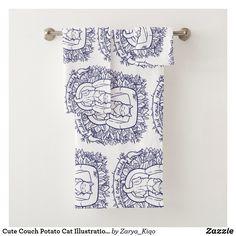 Cute Couch Potato Cat Illustration Bath Towel Set Bath Towel Sets, Bath Towels, Potato Cat, Decorative Leaves, Animal Totems, My Spirit Animal, Artwork Design, Cute Illustration, Print Design