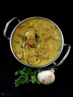 Recepty z Indie: Výsledky vyhľadávania pre Tikka masala Vegetarian Curry, India Food, Coconut Milk, Stew, Stuffed Mushrooms, Good Food, Ethnic Recipes, Button, Stuff Mushrooms