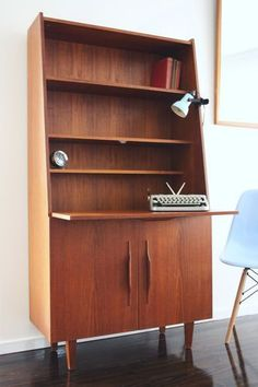 MID Century Macrob Tall Sideboard Cabinet Desk Vintage Teak Parker Danish Retro