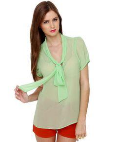 Sheer Mint Green Top