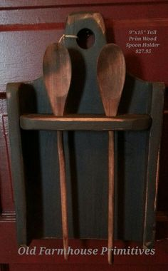 Primitive Wooden Spoon Holder Black Distressed with Spoons