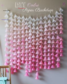 Dreamy DIY Ombré Paper Backdrop - #diybirthdaydecor - It should be no secret by now that I love backdrops. I've had a love affair with them since the moment I joined Pinterest. I made my first one from metallic fringe for New Years Eve in 2013 a…... Paper Backdrop, Diy Backdrop, Photo Booth Backdrop, Diy Wedding Backdrop, Diy Wedding Decorations, Paper Decorations, Garland Wedding, Wedding Ideas, House Decorations