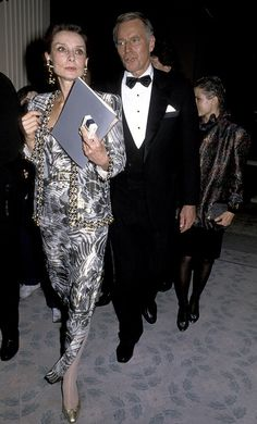 Audrey was stunning in this patterned silk dress and coat with matching earrings. via @stylelist | http://aol.it/1piKL2y
