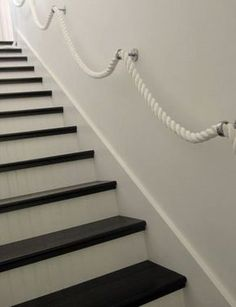 Stair Rope Banisters - tongue and grove stairs with contrast step