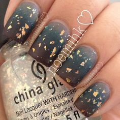 Pinned by www.SimpleNailArtTips.com SPONGING NAIL ART DESIGN IDEAS -  gold flakes on grey gradient