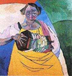 Aristarkh Lentulov. Woman with harmonica, 1913