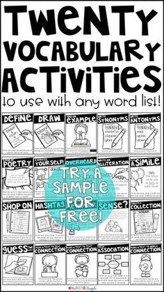 This is a set of twenty different activities that you can use with any vocabulary word with students in grades kindergarten first grade second grade third grade fourth gr. Vocabulary Instruction, Academic Vocabulary, Vocabulary Practice, 4th Grade Vocabulary Words, Vocabulary Building, Vocabulary Word Walls, Vocabulary Notebook, 4th Grade Ela, 4th Grade Reading
