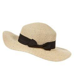 Cream Sequin Bow Straw Hat