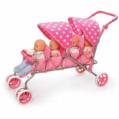 "Badger Basket Inline Quad Doll Stroller, Pink Polka Dots, Fits Most 18"" Dolls & My Life As - Walmart.com"
