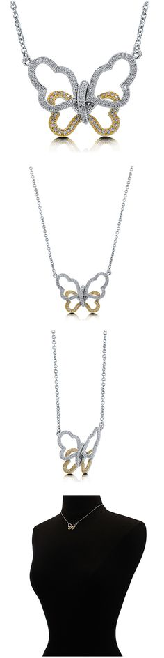 Sterling Silver CZ Butterfly Fashion Necklace