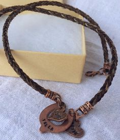 Horse Hair Necklace with Hand Stamped Horseshoe Tag