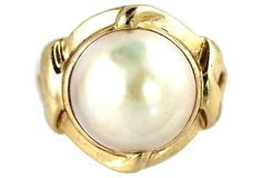 14K Yellow Gold & Pearl Ring by VintageJewelryChick on Etsy