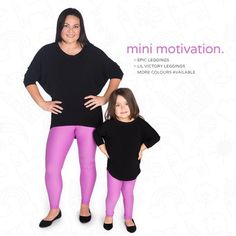"""Lil Victory's!!!!!!!!!  #REFRESH   Lil Victory Leggings   Sizes: 3/4, 5/6, 7/8, 9/10 Colour: Orchid, Cobalt, Black Brand: Silver Icing   Non-sheer performance leggings, 8-way stretch, silky smooth feel  Epic Leggings Sizes: XXS, XS, S, M, L, XL, 2XL, 3XL Colours: Orchid, Cobalt, Black Brand: Silver Icing  Superior 8-way stretch for maximum movability. Signature Muffin Top Free Extra High Waistband. 7-12"""" rise depending on how you adjust the foldover waistband."""