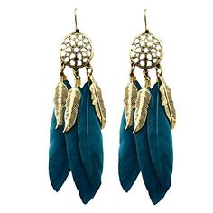 OOMPH's Peacock Green & Gold Feather Dream Catcher Fashion Jewellery Drop Earrings for Women & Girls