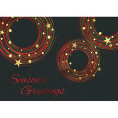 Send your season's greetings in style with a personalized business holiday card.  Personalized greeting cards from On The Ball Promotions are the perfect way to thank customers for their business and wish corporate partners, employees, and business associates a happy holiday season. Choose a holiday sentiment and add your company name, logo, and signatures for a warm and friendly business Christmas card.  This festive circles card is made from a black felt paperstock with gold, red, and gree