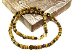 Natural Tone Mens Necklace Featuring Khaki Cat Eye, Olive Green Mother of Pearl and Pyrite by DesignedByAudrey, $50.00