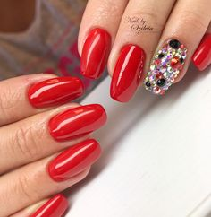 #nails #nailart #red #crystals